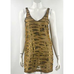 ecote Tunic Top Sz Medium Bronze Brown Gold Caged